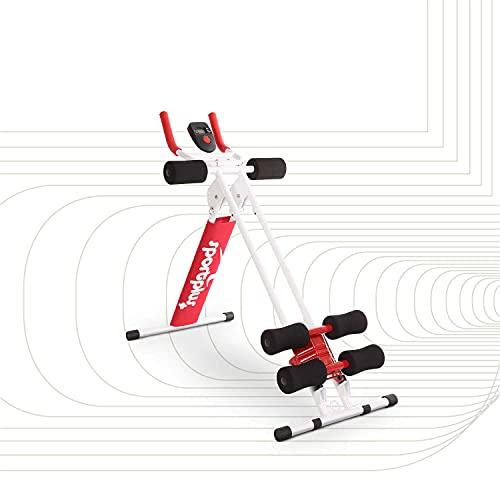 SportPlus Bauchtrainer, klappbarer Bauchmuskeltrainer, Verschiedene Schwierigkeitsstufen, effektives Bauchmuskeltraining, Nutzergewicht bis 100kg, Sicherheit geprüft, SP-ALB-011-R
