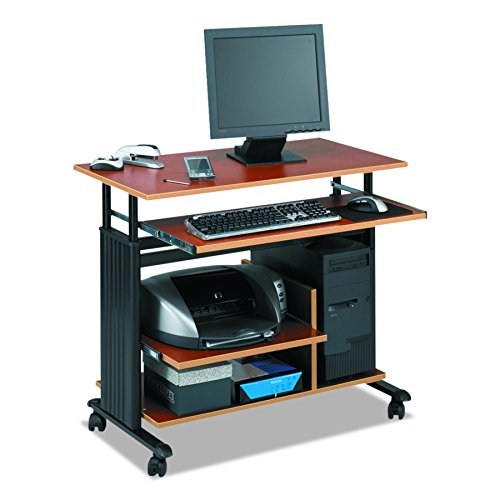 """Safco Products 1927CY Muv Mini Tower 29-34"""" H Stand-Up Desk Adjustable Height Computer Workstation with Keyboard Shelf, Cherry"""