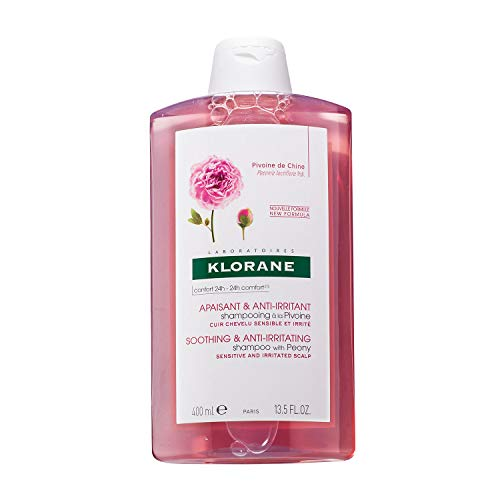 Klorane Shampoo with Peony, Soothing Relief for Dry Itchy Flaky Sensitive Scalp, pH Balanced, Provides Scalp Comfort, 13.5 Fl Oz