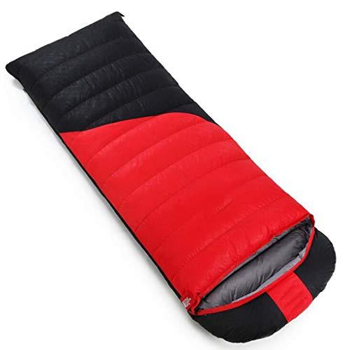 DAFREW Sac de Couchage d'enveloppe, Sac de Couchage extérieur Quatre Saisons avec Sac de Compression (Couleur : Red 2, Taille : 2.5KG)