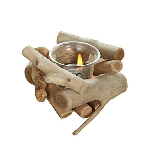 Candlesticks LUYIASI- Portacandele con candelabro in Legno Semplice (12x11 cm)
