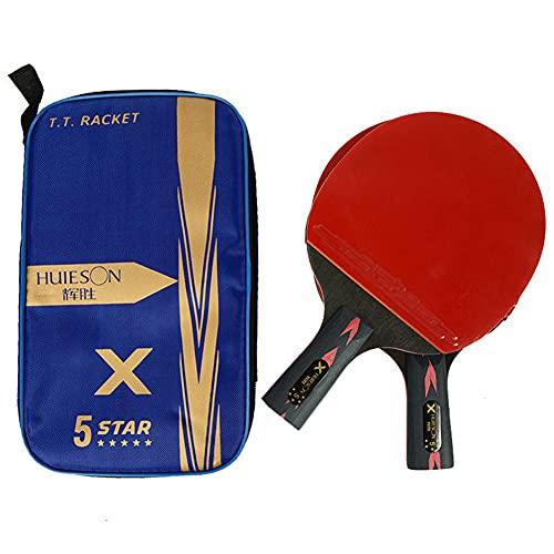HEEYEE Raquetas de Tenis de Mesa de 5 Estrellas, Raquetas de Ping Pong, Mango Largo, manija Corta, Doble, Cara, espinillas, en, cauchos, con Bolsa,2 Straight Shots
