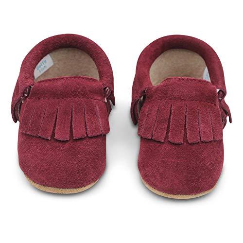 Dotty Fish Mokassins. Wildleder Babyschuhe mit weicher Sohle. rutschfest. Kinder Kleinkinder erste Schuhe. Jungen Mädchen. Brombeer. 0-6 Monate (17 EU)