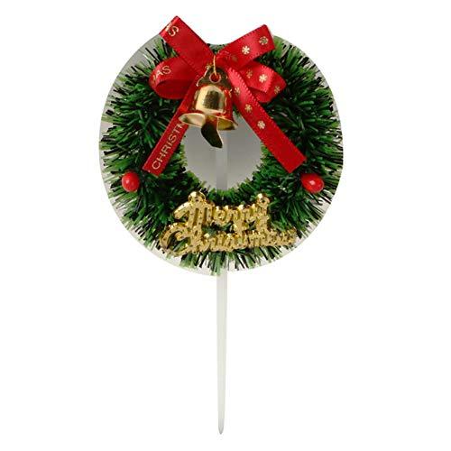 5pcs/lot 3D Christmas Creative Scene Garland Plugin Cake Decorate Insert Card Christmas Party Decorating Jingle Bell