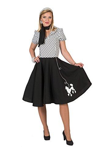 Bristol Novelty AF052 poedel jurk, dames, zwart/wit, maat 12-14