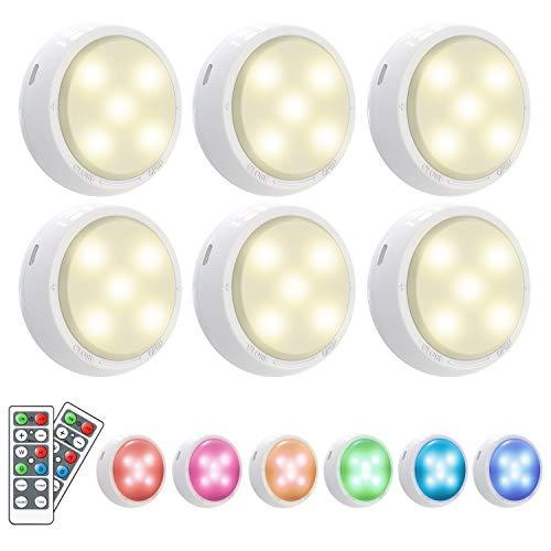 16 Farben RGB Schrankbeleuchtung, OxyLED 6pcs Led Nachtlicht mit Fernbedienung Treppen Licht Unterbauleuchten Schrankleuchte Batteriebetrieben 4 Dimmstufen 3 Lichtmodi Timer Schrank Lichter