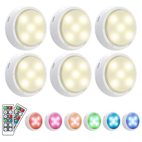 Under Cabinet Lights,OxyLED 6 Pack RGB Wireless Cupboard Lights with Remote...