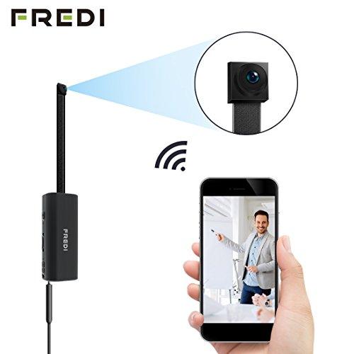 FREDI IP Cámara Espía/Oculta Spy Mini WiFi Cámara P2P Portátil Inalámbrico/Detección de Movimiento Cámara de Vigilancia Admite Tarjeta de hasta 128 GB(no Incluye) Camara de Seguridad