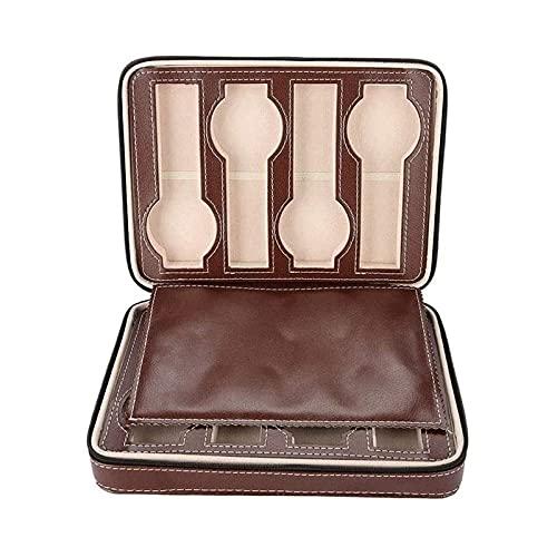 SSHA Joyero Caja de exhibición de Relojes con Cremallera portátil de Cuero sintético Organizador Caja de joyería - Caso de Reloj de Viaje para Hombres Mujeres Organizador de Joyas