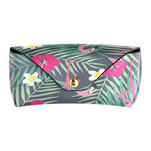 XiangHeFu Bolso de anteojos de cuero PU portátil Bolsa de gafas Gafas de sol Flamingo Flower Leaf Gafas de sol Estuche de viaje Multiuso