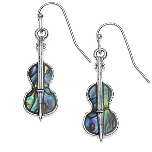 BellaMira Abalone - Guitar & Hot Air Balloon - Adventure & Music Theme Silver Plated Necklace & Earrings Paua Shell Jewellery Gift Boxed (Violin Earrings)