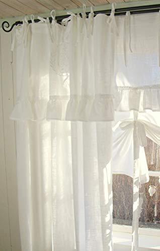 LillaBelle Vorhang Lara Offwhite Gardine 140x250 cm 2 Stück Volant Bestickt Landhaus Shabby Vintage