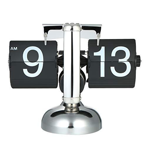Galapara Retro Flip Down Durchblaetternde Uhr Innengetriebe betrieben, Schreibtisch Regal Design Uhr, Auto Flip Retro Tisch Uhren Metall, Europäischen Stil Dekoration Tischuhr
