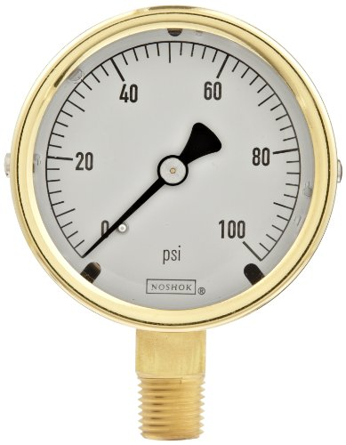 NOSHOK 400 Series All Stainless Steel Dry//Fillable Dial Indicating Pressure Gauge with Bottom Mount 4 Dial 0-5000 psi Pressure Range 4 Dial Inc +//-1.0/% Accuracy 40-400-5000-psi