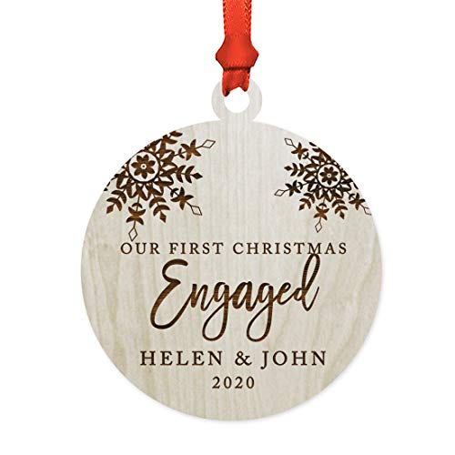 Andaz Press Personalized Wedding Engagement Laser Engraved Wood Christmas Ornament, Our First...