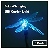 1 Pack Solar Powered Garden Light Color Changing LED Landscape Path Lights Outdoor Figurine Lights in-ground Light Decorative Stake Light for Pathway Lawn Patio Yard Decor, Dragonfly