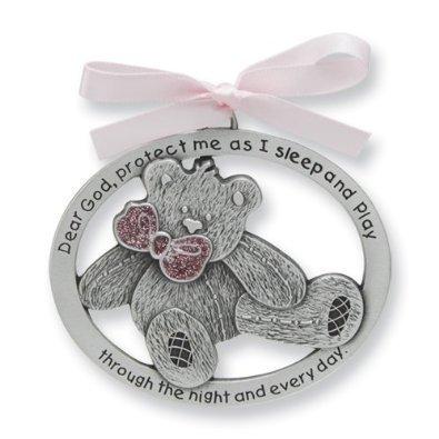 Jolie médaille pour berceau de bébé fille avec poème en étain 10,2 cm – Cadeau de...