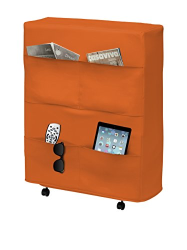 13Casa - Brenda task A3 - Rete pieghevole. Dim: 80x32x95 h cm. Col: Arancione. Mat: Acciaio, Ecopelle.