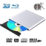 BLU Ray 4k Grabadora DVD Reproductor Externo Portatil USB 3.0 Grabadora de Quemador Regrabadora Lector de CD DVD Disco para Windows7/8/10,Linux,Mac Os, PC