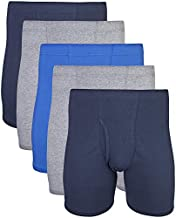 Gildan Men's Covered Waistband Boxer Briefs, Multipack, Mixed Royal (5-Pack), Medium