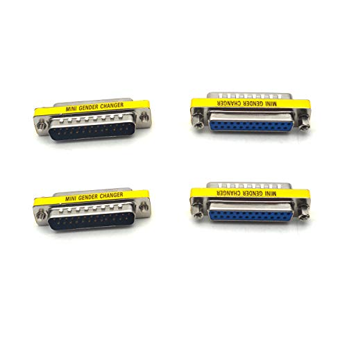 Antrader 25 Pin VGA SVGA KVM Male to Female M/F Mini Gender Changer Coupler Adapter DB25 Cable Converter Parallel DSUB Connector for PC Pack of 4