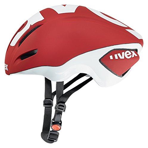 Uvex Edaero Casco de Ciclismo, Unisex Adulto, Rojo/Blanco, 53-58 cm