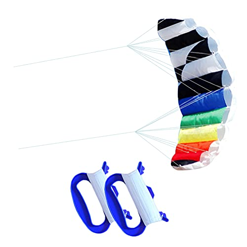 Amplia Cometas De Arco Iris Niños Adulto De Doble Línea De Doble Truco Kites Al Aire Libre Volando Juguete Fácil De Volar Cometa Para Principiantes Con Spinning Cola Larga Para La Playa Viaje De Viaje