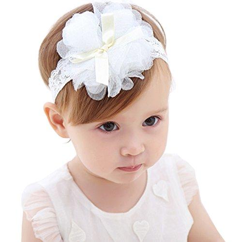 baby boo【新生児 セレモニー 髪飾り 】ヘアバンド ヘアアクセサリー ベビー 子供 (ホワイト)