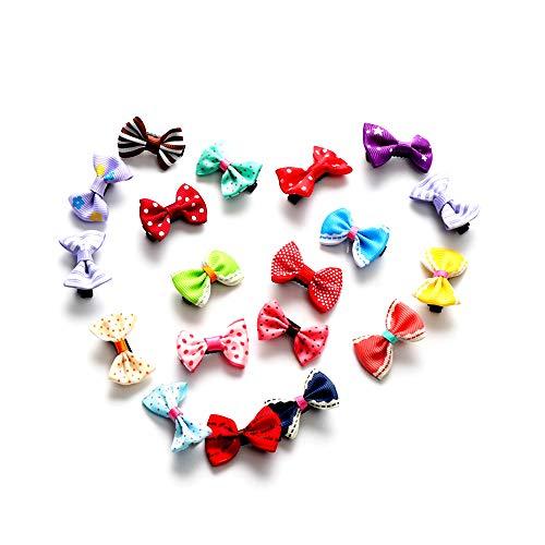 Ogquaton Premium 20 unids Bowknot flor de la cinta de la mariposa del bebé horquillas mini pasadores de pelo Pin para bebés niñas niños niños accesorios para el cabello