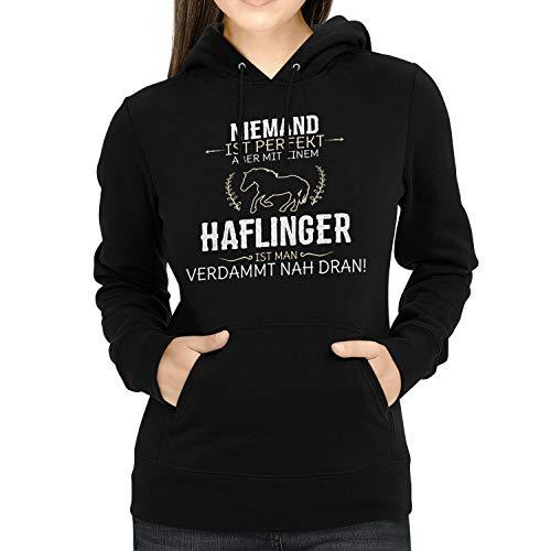 Fashionalarm Damen Kapuzen Pullover - Niemand ist perfekt - Haflinger | Fun Lustig Hoodie Spruch Geschenk-Idee Pferd Reiten Reiterin Reitsport, Schwarz 3XL