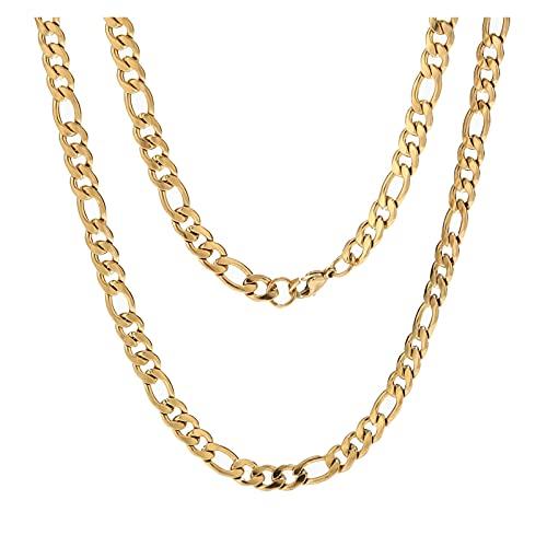 QUANQUAN Quani Collares de Cadena de Figaro llenadas de Oro de Acero Inoxidable 10pcs 6MM Ancho Cuba Curb Cadena de Enlace for el Colgante Hip Hop Jewelry Regalos (Length : 60cm)