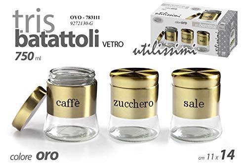 GICOS IMPORT EXPORT SRL Set 3 contenitori Tris barattoli barattolini Cucina in Vetro e Acciaio Colore Oro 11 * 14 cm 750 ml Sale-Zucchero-caffè OYO-783111