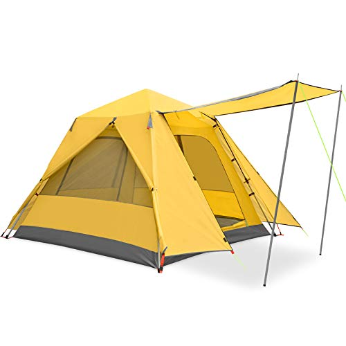 KAZOO Family Camping Tent Large Waterproof Pop Up Tents 3 Person Room Cabin Tent Instant Setup with Sun Shade Automatic Aluminum Pole