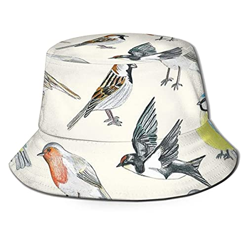 XCNGG Illustrierte Vögel Unisex Summer Sun Bucket Hat Beach Cap