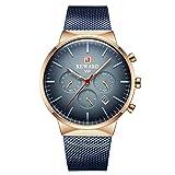 Reloj de Cuarzo para Hombre con Correa de Acero Inoxidable Reloj de Cuarzo Resistente al Agua -A
