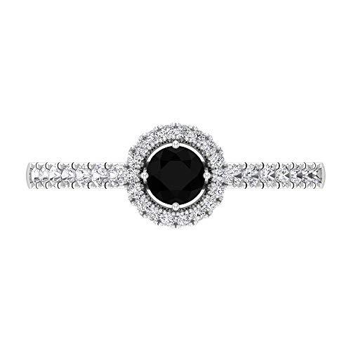 Anillo de diamante negro solitario de 1/2 quilates, anillo de compromiso con detalles de diamante HI-SI, anillo de halo con piedra lateral, 18K Oro blanco, Size:EU 59