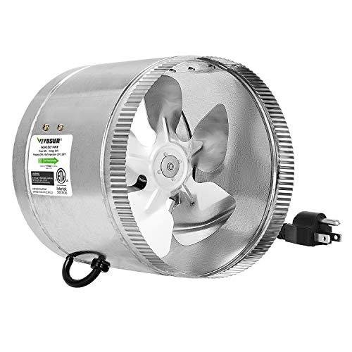 VIVOSUN 8 inch Inline Fan Duct Fan 420 CFM, HVAC Exhaust Intake Fan, Low Noise & Extra Long 5.5' Grounded Power Cord