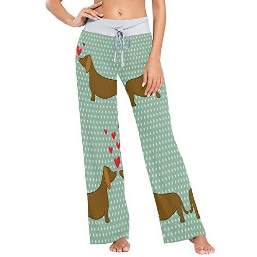 MNSRUU - Pijama de perro salchicha con lunares para mujer, estilo casual, elástico, pierna ancha
