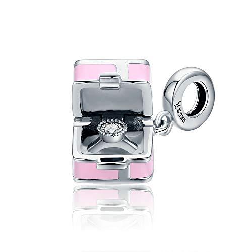 Roze Engagement Ring 100% 925 Sterling Zilver Romantische Roze Doos Marry Me Surprise Charm Hanger fit Vrouwen Armband DIY Sieraden Maken