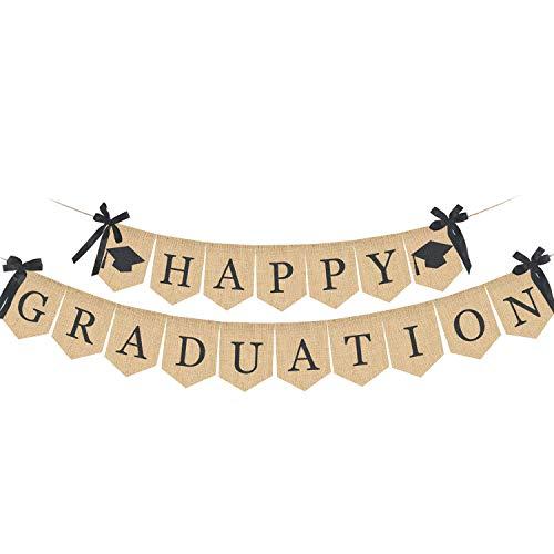 Felice banner di laurea, Rustico Vintage tela ruvida Festa di laurea forniture 2019, decorazioni di laurea per Graduazione Grad Home Party, Congratulazioni Segno