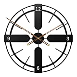 KX&VV Reloj de Pared Gigante de Metal Reloj de Pared Decorativo Reloj de Pared Digital Redondo con Diseño Antiguo Negro, Salón, Dormitorio 65cm