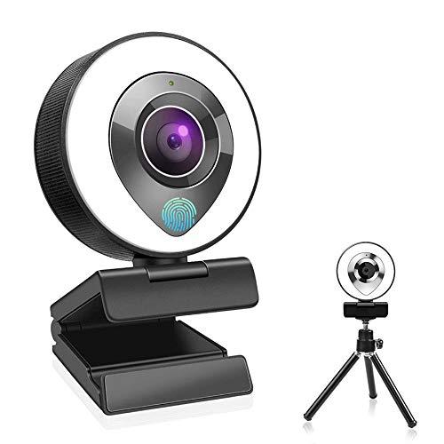 Mksutary 1080P Webcam mit Mikrofon und Ringlicht, Full HD Facecam Live-Streaming USB Web-Kamera mit Videochat Autofokus und Weitwinkel, PC Computer Webcam für Videochat-Aufnahme, Mac, Laptop, Skype