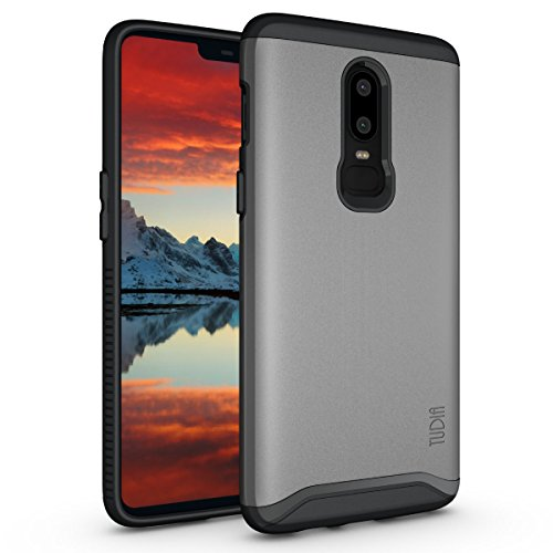 TUDIA Merge Designed for OnePlus 6 Case, Dual Layer Phone Case for OnePlus 6 (Metallic Slate)