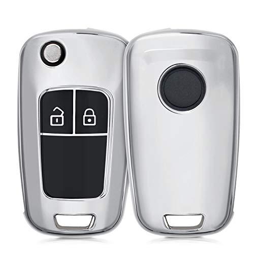 kwmobile Autoschlüssel Hülle kompatibel mit Opel Chevrolet 2-Tasten Klapp Autoschlüssel - TPU Schutzhülle Schlüsselhülle Cover in Hochglanz Silber