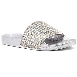 Silver Rhinestone Slide Slip On Mules Summer Sandal