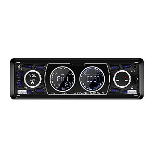 TTAototech SWM-8808, MP3-speler voor in de auto, multifunctionele FM-radio met dubbele USB-poorten, app-afstandsbediening, handsfree bellen.
