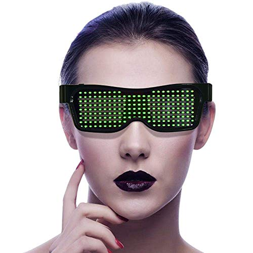 Rabusion Electronics For LED Light Up Glasses App Control DIY Flashing Glasses Display Messages Animation Drawings for Party Concert Bar Rave Festival green