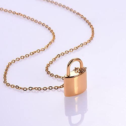 QFV Collar de urna de Cenizas de cremación con candado pequeño de Acero Inoxidable, joyería, Colgante de Recuerdo, Cerradura, joyería Conmemorativa