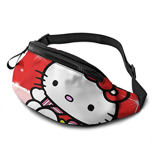 Yugy Hello Kitty Cartoon Anime Cute Cat Red for Men Women Fanny Packs Waist Pack Bag with Headphone Jack and Adjustable Straps Belt Bags Super Lightweight Cute Fashion Waist Bag