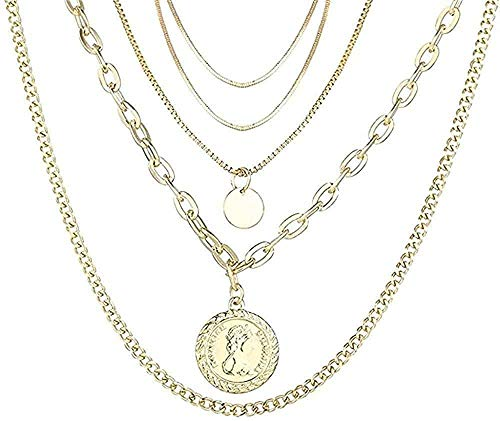 Yiffshunl Necklace Woman Necklace Collar Multi Layer Lock Portrait Pendants Necklaces for Women Gold Metal Key Heart Necklace Jewelry Gift